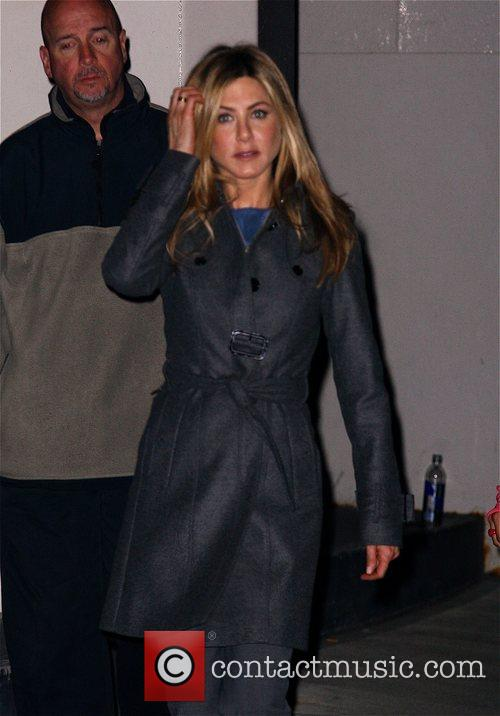 Jennifer Aniston  leaving her make up trailer...