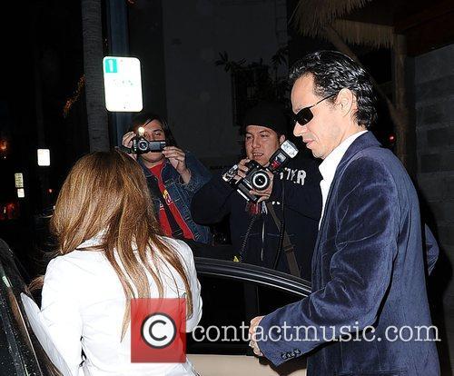 Marc Anthony and Jennifer Lopez outside Luau restaurant...