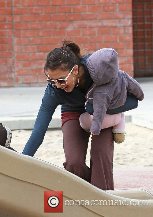 Jessica Alba enjoys an afternoon at Coldwater Park...