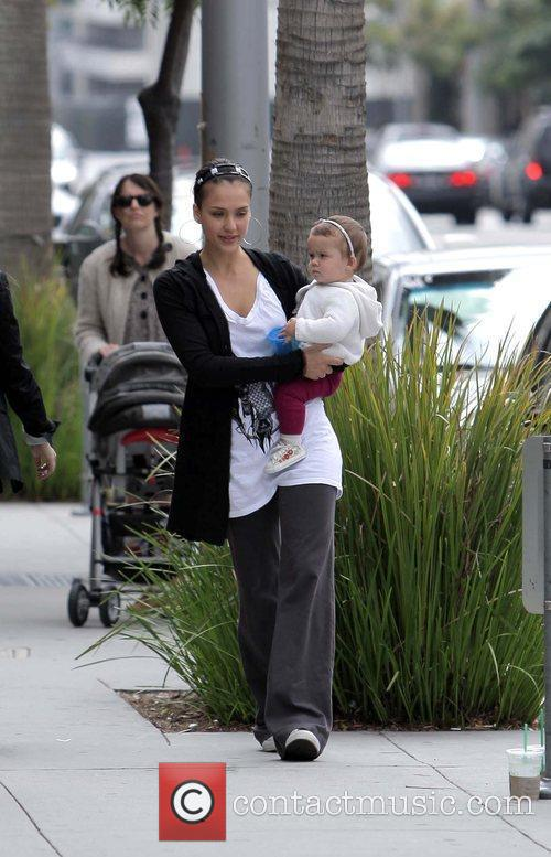 Jessica Alba and daughter Honor Marie after having...