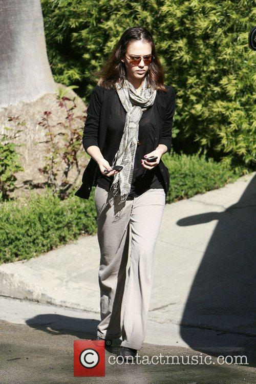 Jessica Alba arriving at a meeting with her...