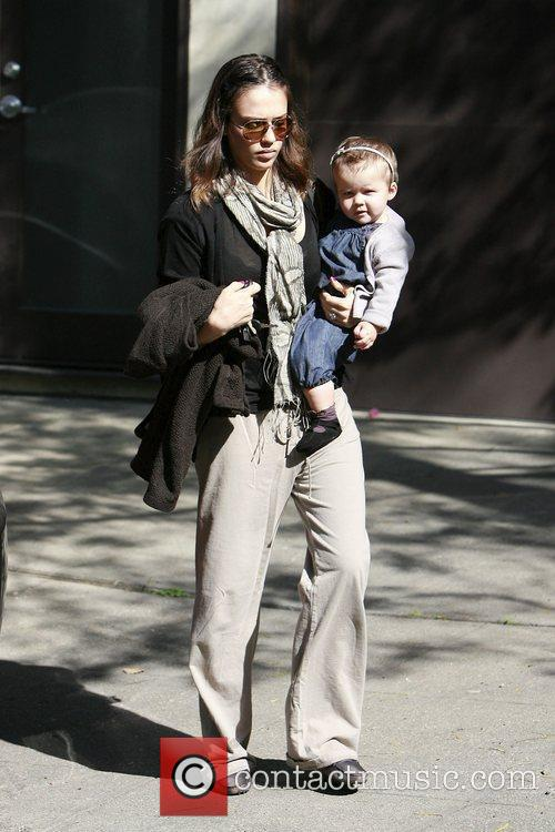 Arriving at a meeting with her daughter Honor...