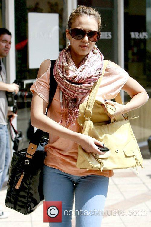 Jessica Alba  shopping at Sunset Plaza with...