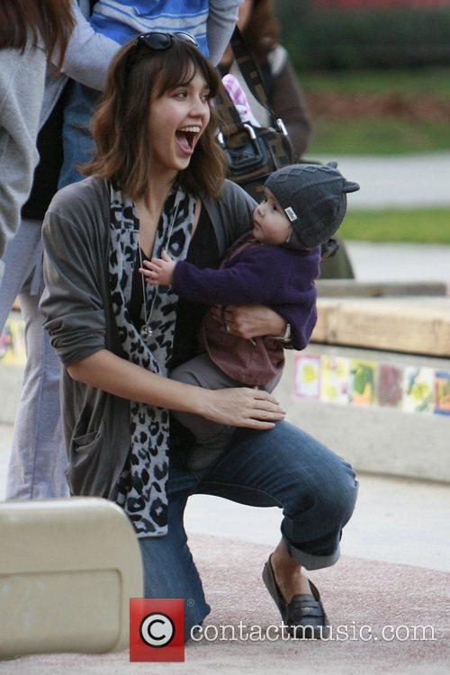 Jessica Alba plays with her daughter Honor Marie...