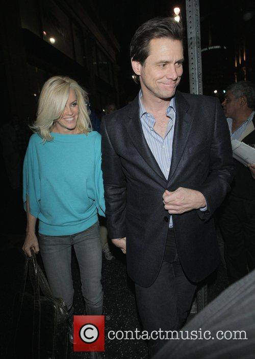 Jim Carrey and wife Jenny McCarthy  exiting...