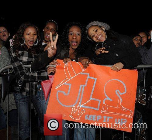 JLS fans JLS appear at Fairfield Halls in...