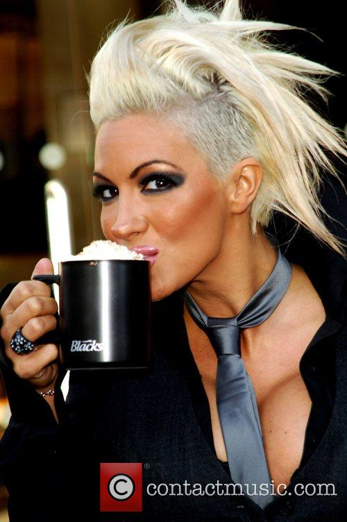 Glamour model Jodie Marsh visits Starbucks to launch...