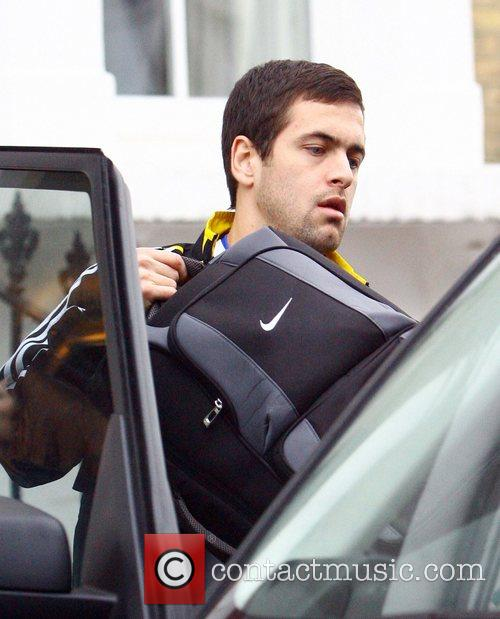 Joe Cole leaving his house wearing a Chelsea...