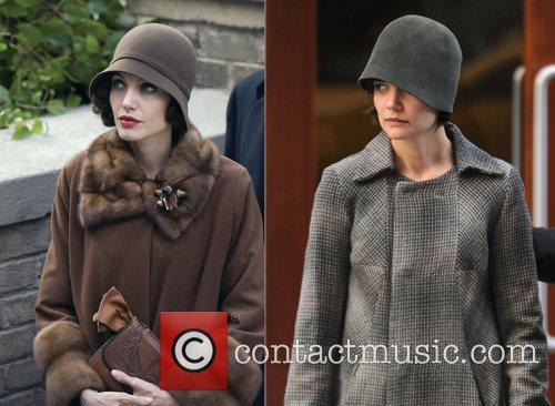 Angelina Jolie and Katie Holmes wearing similar clothing...