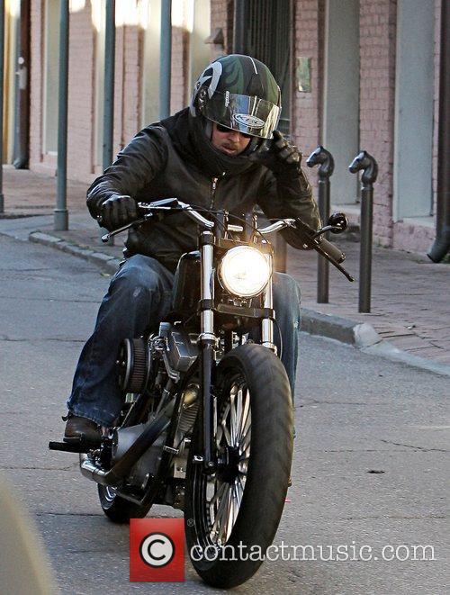 Brad Pitt on his bike in New Orleans