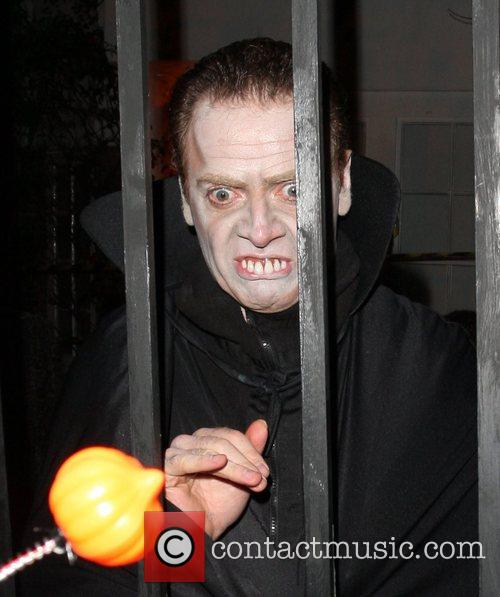 Arriving at Jonathan Ross's Halloween Party.
