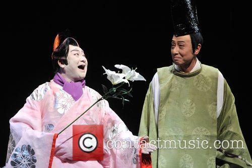 Members of Shochiku Grand Kabuki Company perform for...