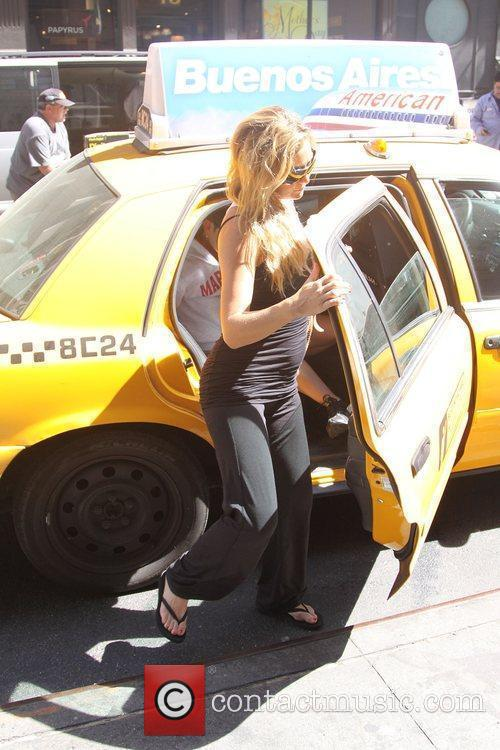 Kate Hudson getting out of a taxi in...