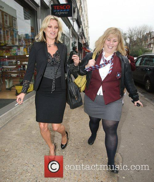 Kate Moss and Katy Brand walking to the...