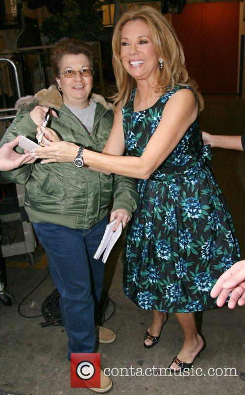 Kathie Lee Gifford leaving ABC studios after returning...