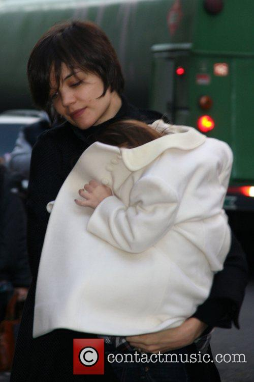 Katie Holmes and Suri Cruise arrive back at...