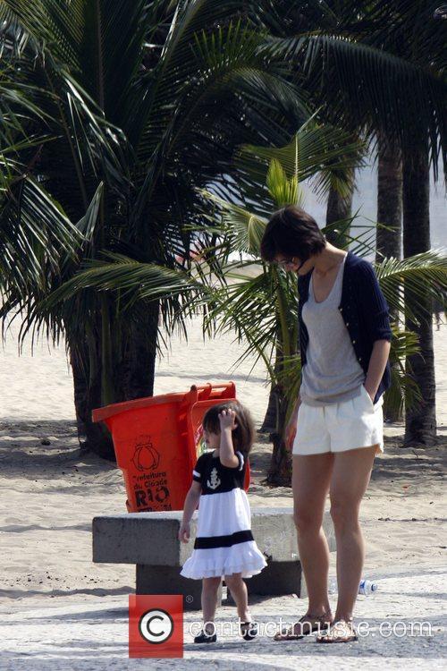 Katie Holmes  walking with her daughter Suri...