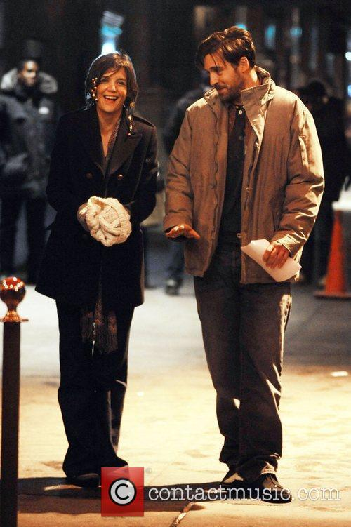 Katie Holmes and Alex Burns filming on location...