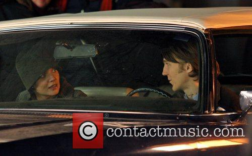 Katie Holmes and Paul Dano filming on location...
