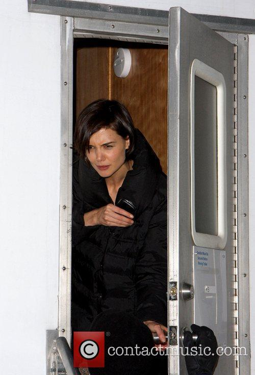 Katie Holmes filming on location for her new...