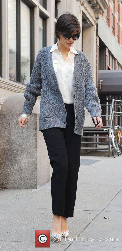 Katie Holmes leaving her Manhattan residence en route...