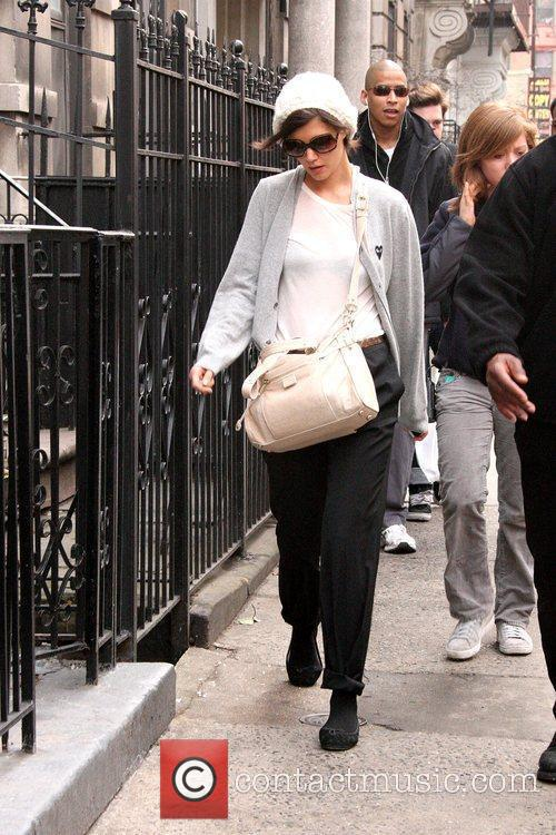 Katie Holmes arriving to the set of her...
