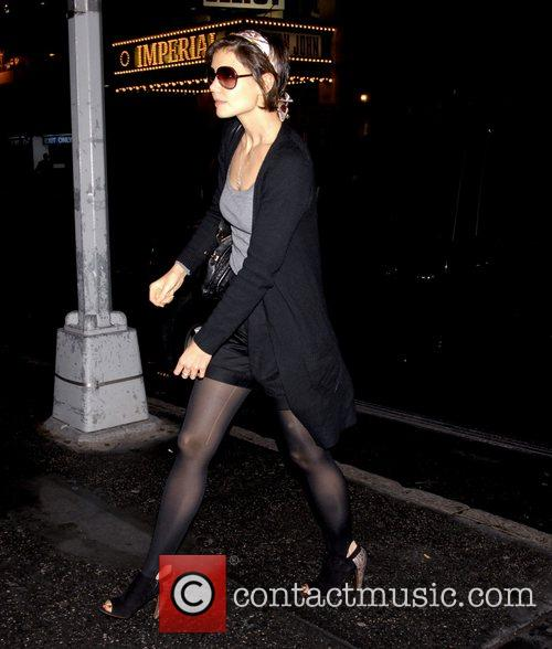 Katie Holmes has a run in her stocking...