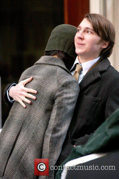 Katie Holmes and Paul Dano on the set...