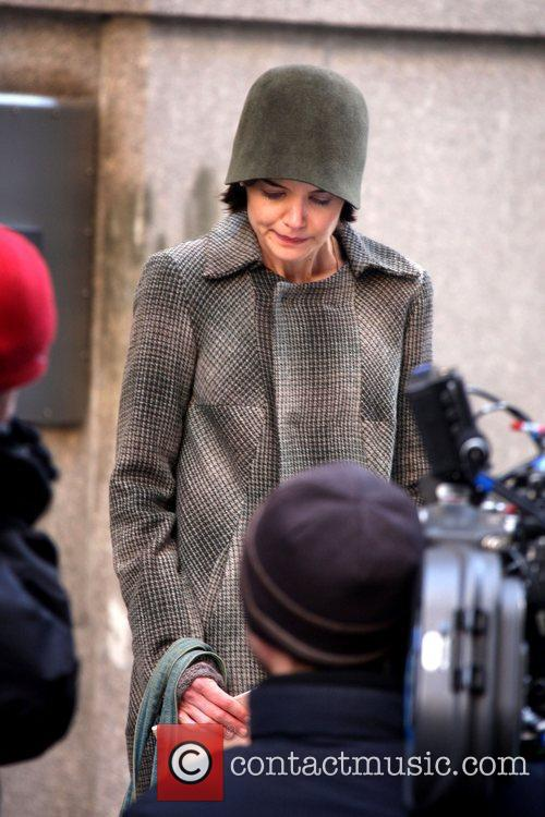 Katie Holmes filming an emotional scene on the...