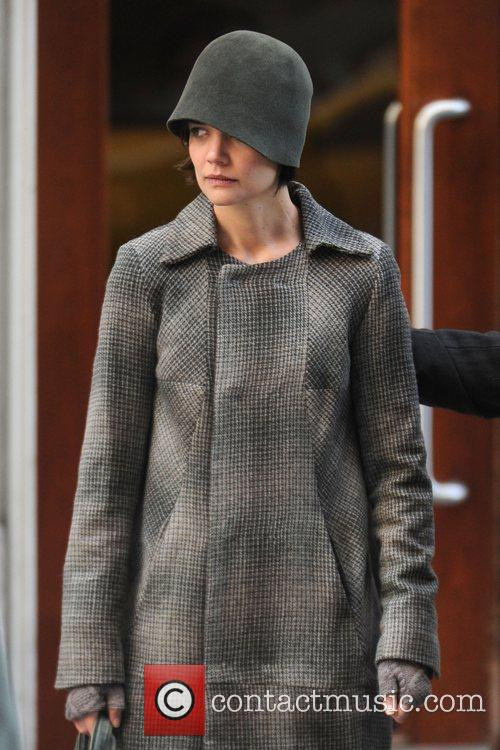 Katie Holmes on the set of their new...
