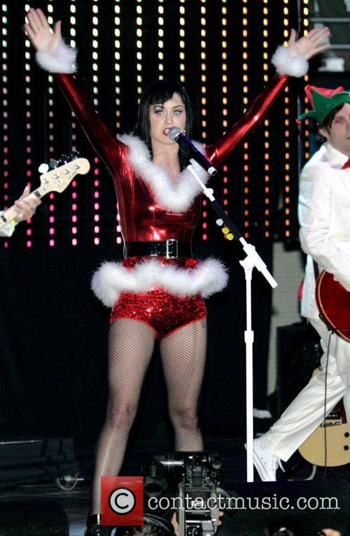 Katie Perry performing live on stage in Los...