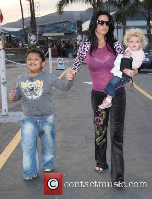 Katie Price, Harvey, Princess Tiaamii leaving Gladstones of Malibu