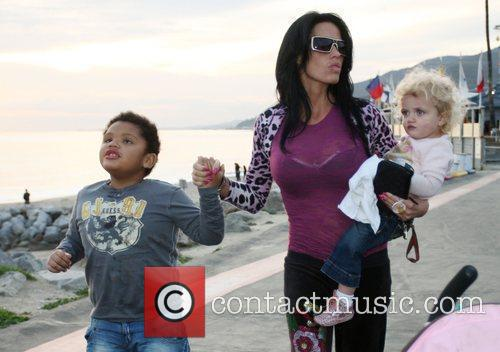 Katie Price, Harvey, Princess Tiaamii leaving Gladstones of Malibu
