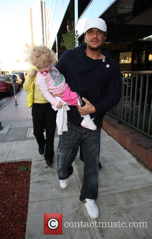 Peter Andre with Princess Tiaamii seen leaving The...