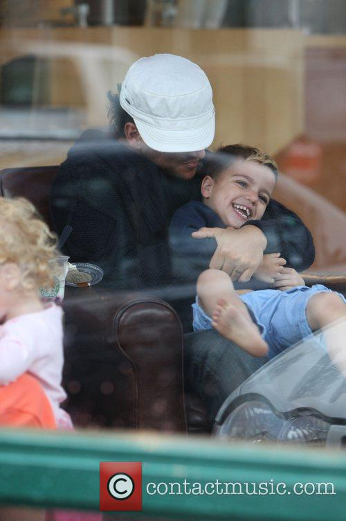 Peter Andre and son Junior take breakfast in...