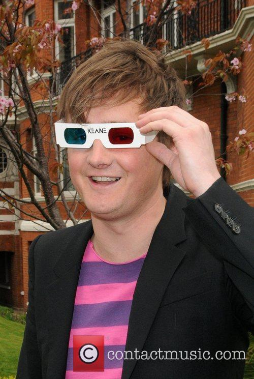 Wearing 3D glasses at a photocall on Abbey...