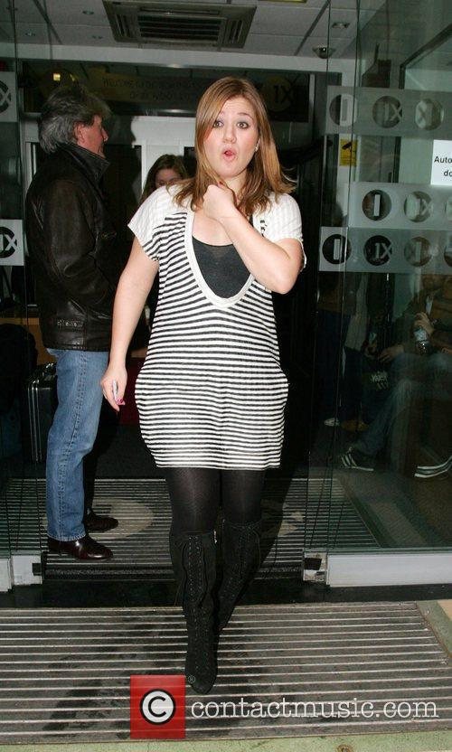 Kelly Clarkson leaving Radio One studios after performing...