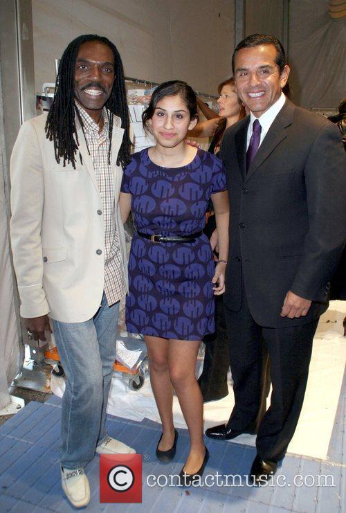 Kevan Hall, Antonio Vilaraigosa and daughter attends the...