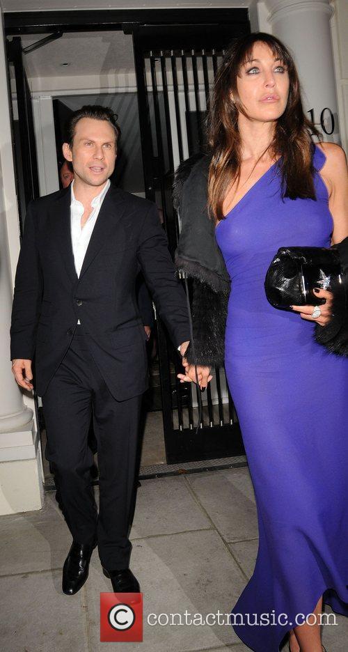 Christian Slater and Tamara Mellon leaving a private...