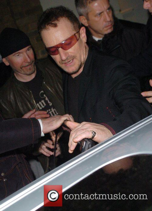 Bono leaving a private party, held at the...
