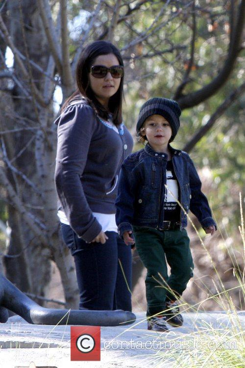 Kingston Rossdale plays with his nanny at a...
