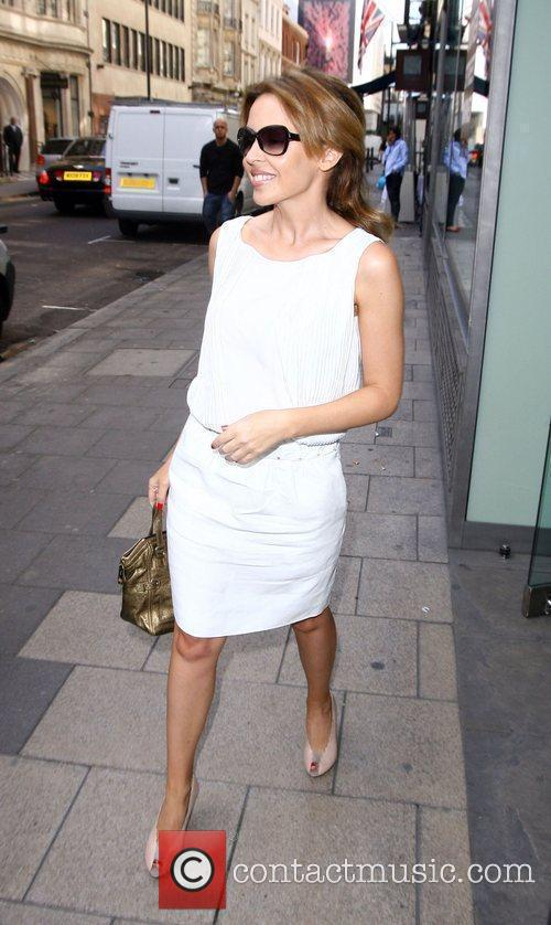 Kylie Minogue looking summery while leaving Dover Street...
