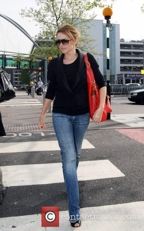 Kylie Minogue arriving at Heathrow airport London, England