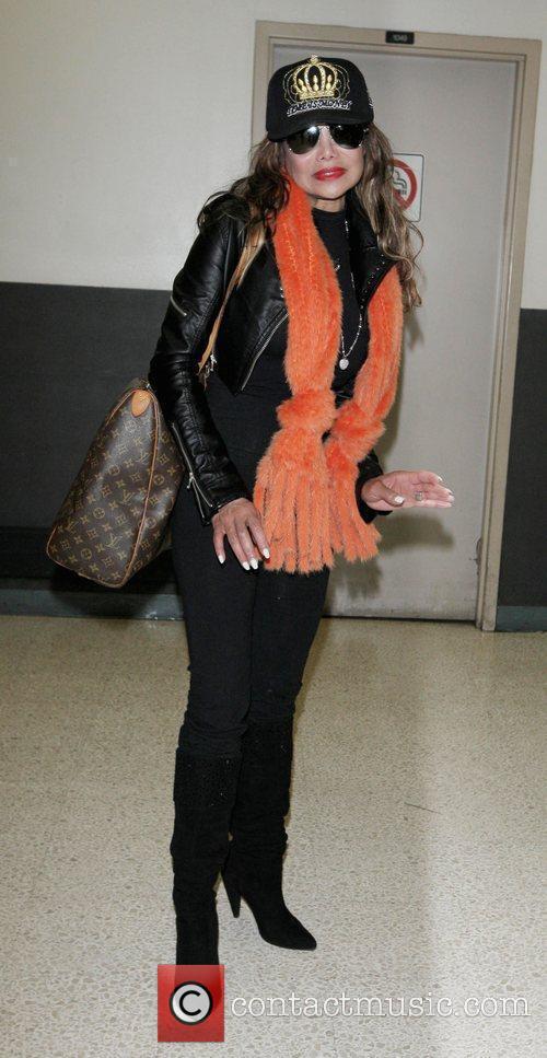 LaToya Jackson arriving at LAX on a Virgin...