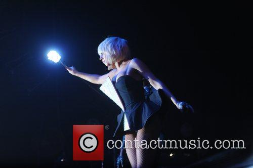 Lady Gaga performing in concert