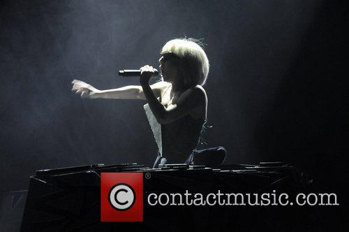 Lady Gaga performing at the Wiltern Los Angeles,...
