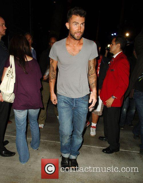 Adam Levine leaving after watching the Los Angeles...