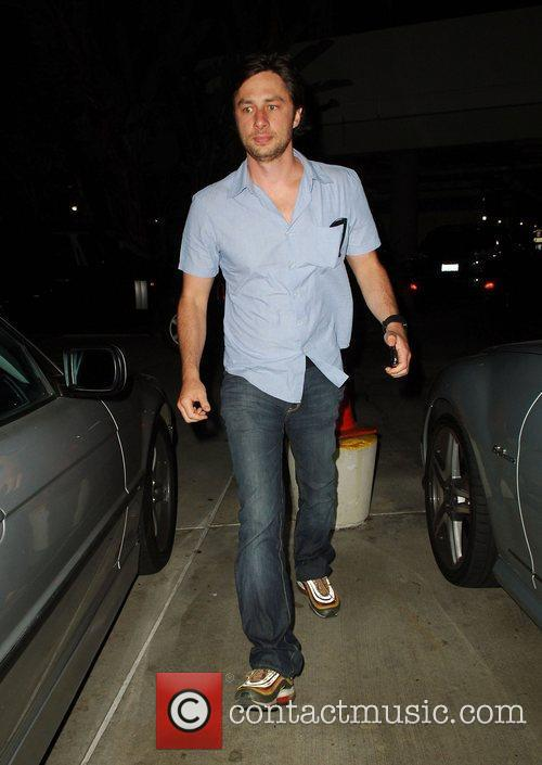 Zach Braff leaving after watching the Los Angeles...