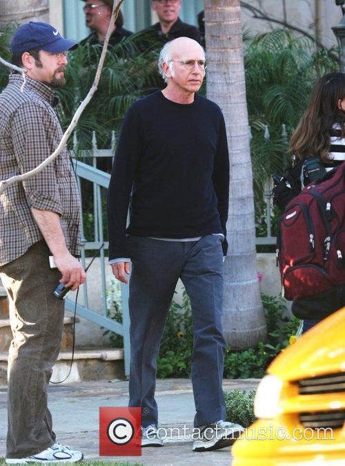 Larry David shoots a scene for 'Curb Your...