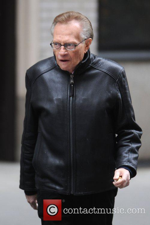 Larry King out and about in Manhattan's Upper...